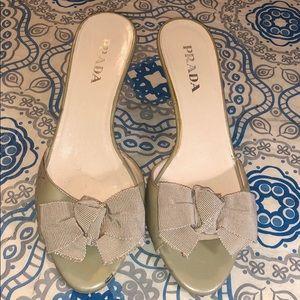 Prada Patent Leather/Bow Heel Mules Sandals